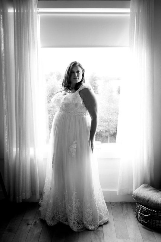 Bride at her wedding in Prince Edward County
